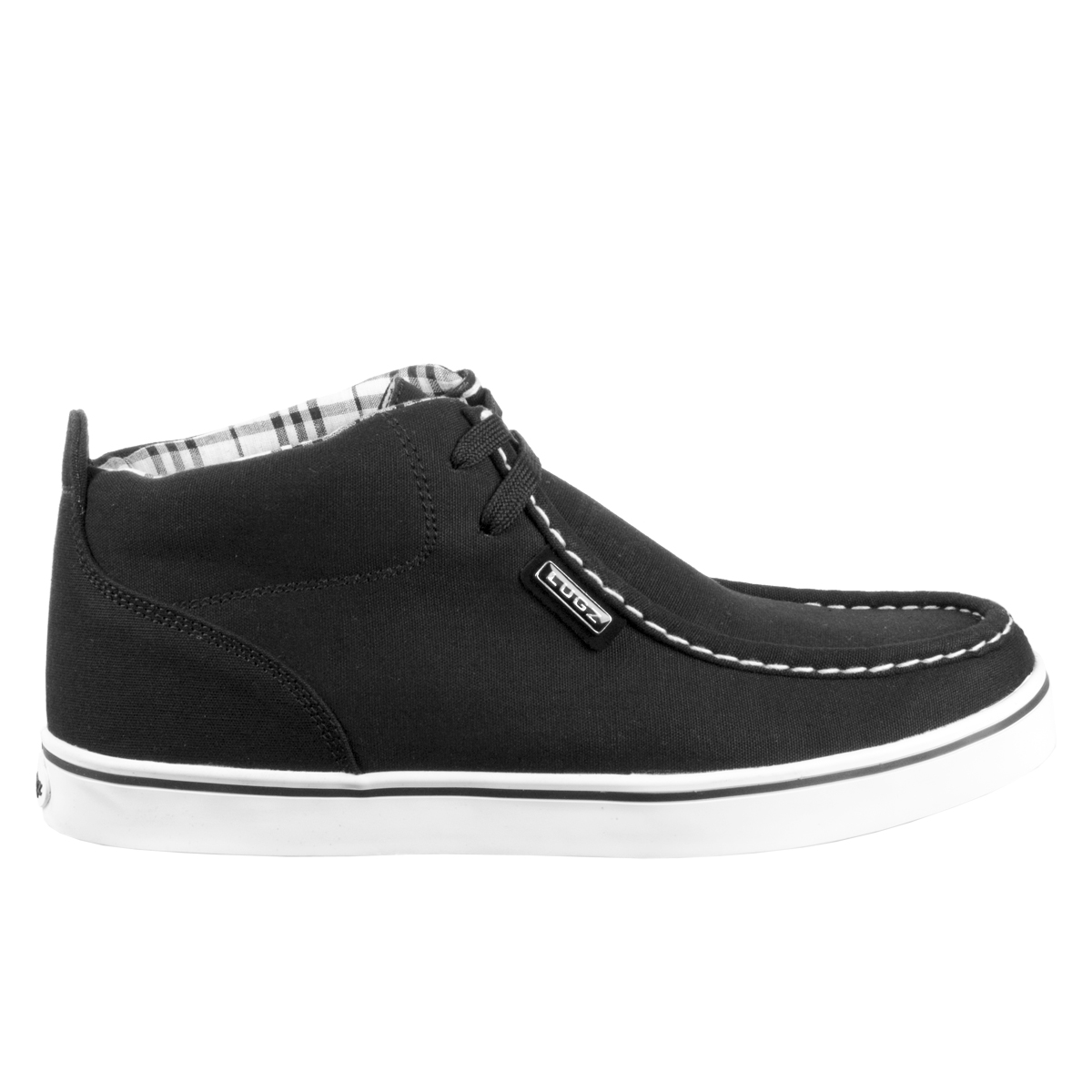 tambee lugz strider mens shoe black white plaid